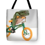 Frog On A Bicycle Tote Bag