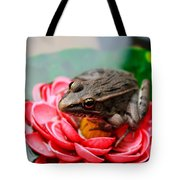Frog On Lily Pad Two Tote Bag