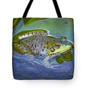Frog Resting On A Lily Pad Tote Bag