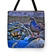 Frogs And A Pigeon Tote Bag