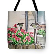 Front Yard Lights Sketchbook Project Down My Street Tote Bag by Irina Sztukowski