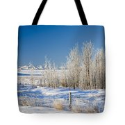 Frost-covered Trees In Snowy Field Tote Bag