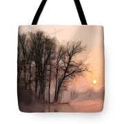 Frosty Morning At The Lake Tote Bag