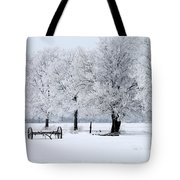 Frosty Morning On Old Wagon Wheels Tote Bag