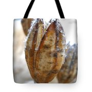 Frosty Tiger Lily Seed Pod Tote Bag