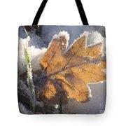 Frozen Oak Leaf Tote Bag