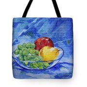 Fruit On Blue Tote Bag