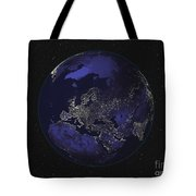 Full Earth At Night Showing City Lights Tote Bag by Stocktrek Images