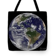 Full Earth Showing Two Tropical Storms Tote Bag