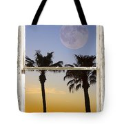 Full Moon Palm Tree Picture Window Sunset Tote Bag