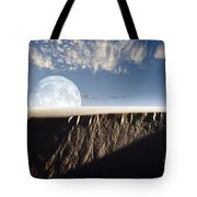 Full Moon Rising Above A Sand Dune Tote Bag