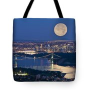 Full Moonrise Over Vancouver, British Tote Bag