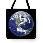 Fully Lit Earth Centered On North Tote Bag