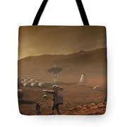 Future Mars Colonists Playing Tote Bag
