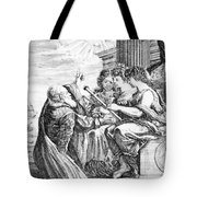 Galileo With Telescope Pointing To Sky Tote Bag