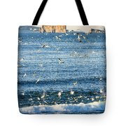 Gannets In Flight And Perce Rock Tote Bag
