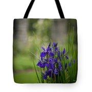 Garden Blue Irises Tote Bag