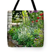 Garden Flowers With Stream Tote Bag