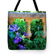 Garden Wall With Periwinkle Flowers Tote Bag