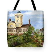 Gardens At Hereford Inlet Lighthouse  Tote Bag