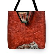 Gaslight On A Red Wall Tote Bag