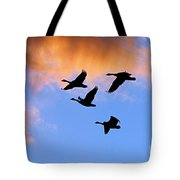 Geese Silhouetted At Sunset - 1 Tote Bag