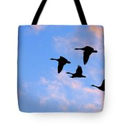 Geese Silhouetted At Sunset - 2 Tote Bag