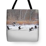Geese Take Flight Over The Maumee River Tote Bag