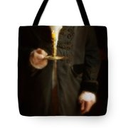 Gentleman In Vintage Clothing Holding A Candlestick Tote Bag