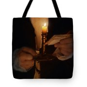 Gentleman In Vintage Clothing With Candlestick And Letters Tote Bag