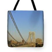 George Washington Bridge And Boat Tote Bag