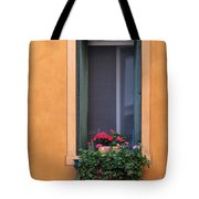 Geraniums In A Yellow Window In Treviso Italy Tote Bag