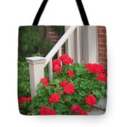 Geraniums On The Steps Tote Bag