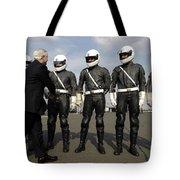 German Motorcycle Police Shake Hands Tote Bag by Stocktrek Images
