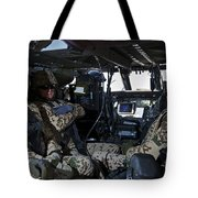 German Soldiers Seated In A Uh-60l Tote Bag