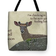 Get Well Card - Whitetail Deer In Velvet Tote Bag