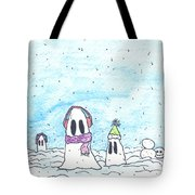Ghost In Snow Tote Bag