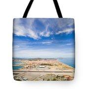 Gibraltar Airport Runway And La Linea Town Tote Bag