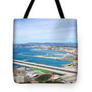 Gibraltar Runway And La Linea Cityscape Tote Bag