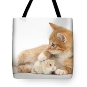 Ginger Kitten And Russian Hamster Tote Bag