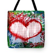 Gingham Crazy Heart Tote Bag