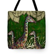 Giraffes In A Golden Forest Tote Bag