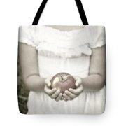 Girl And Apple Tote Bag