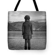 Girl At A Lake Tote Bag