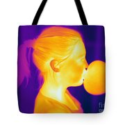 Girl Blowing A Bubble Tote Bag
