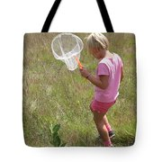 Girl Collecting Insects In A Meadow Tote Bag