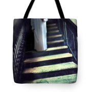 Girl In Nightgown On Steps Tote Bag