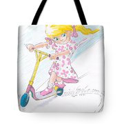 Girl On A Microscooter Cartoon Tote Bag