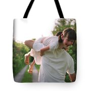 Girl On Fathers Shoulder Tote Bag by Michelle Quance
