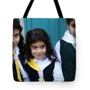 Girl Scouts At Orthodox Christmas Celebration Tote Bag